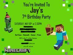 Minecraft Evite Pic Jay Bday Pinterest