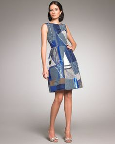 Oscar de la Renta Beaded Patchwork Dress fits in with the trend for clothing made from recycled clothing.