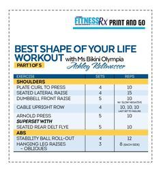 BEST SHAPE OF YOUR LIFE WORKOUT WITH MS. BIKINI OLYMPIA ASHLEY KALTWASSER Part 1: Shoulders and Abs