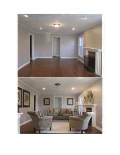 Vacant Home Staging, Before and After, traditional to transitional room, symmetry for balance