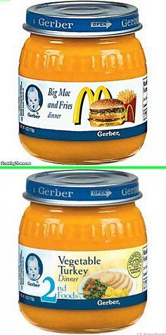 "Fake - Gerber ""Big Mac and Fries Dinner"" - The original image of Gerber ""Vegetable Turkey Dinner"" is on the bottom.(They don't make the Big Mac and Fries - It started at Freakingnews.)"