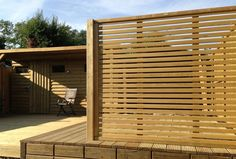 A Jacksons Venetian panel used to hide a garden shed #garden #design #screen #privacy