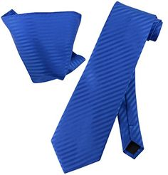 Introducing Vesuvio Napoli ROYAL BLUE Striped NeckTie  Handkerchief Matching Neck Tie Set. Great Product and follow us to get more updates!