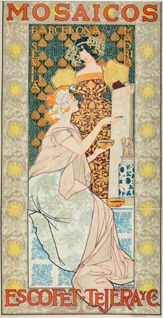 Mosaics by Escofet-Tejera and Co., Spain, 1900. Artist: Alexandre de Riquer.  www.eklectica.in