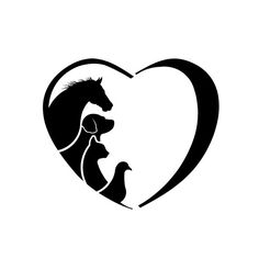 Clipart Horse Dog Cat Bird Love Heart. Concept of animal love, veterinary and pet adoption