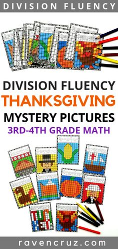 These Thanksgiving mystery pictures are a no-prep way for students to practice division fluency this fall season. Third and fourth-grade math students will enjoy finding the quotient to reveal a Thanksgiving-themed picture. Math Resources, Math Activities, Math Games, School Resources, Holiday Activities, Thanksgiving Math, Thanksgiving Worksheets, Math Centers, Math Rotations