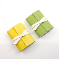 NEW Leather Mini Journals in Green & White and Yellow & White