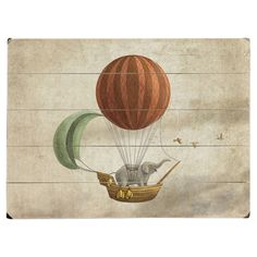 Perfect as a delightful focal point or part of an eye-catching vignette, this charming planked wood wall decor features a vintaged hot air balloon print.