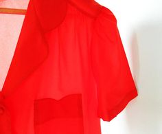 Strawberry Red Button Down Blouse / Sweet Vintage Blouse Tulip