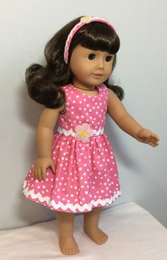 doll dress made to fit like an American Girl Doll Dress or Like American Girl Doll Clothes - 18 inch Doll Dress Custom American Girl Dolls, American Girl Diy, American Girl Dress, American Doll Clothes, American Dolls, Sewing Doll Clothes, Girl Doll Clothes, Doll Dress Patterns, Doll Dresses