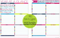 Free Year at a Glance Form . For those buried in the planning details |Tina's Dynamic Homeschool Plus #7stephomeschoolplanner