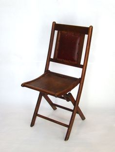 Vintage Wood Folding Chair with Leather Back; Red Leather; Vintage Camp Chair; Vintage Slat Chair; Vintage Display by PurpleMouseStories on Etsy