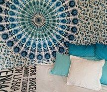 Inspiring image bed, bedroom, black, bliss, blue, boho, cozy, cushion, cute, decor, good vibes, green, gypsy, happy, hippie, indie, love, peace, pretty, room, room decor, simple, summer, tapestry, tumblr, turquoise, white #3836626 by helena888 - Resolution 500x500px - Find the image to your taste