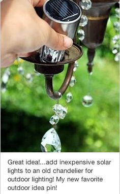 Just so I remember to do this... add outdoor solar lamps to old chandelier to hang outside - great idea.