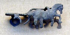 Toy chariot horses for biga (chariot missing); made of lead (Roman, from Smyrna; Ancient Rome, Ancient History, Site History, Minoan, 1st Century, Ancient Artifacts, Antique Jewellery, Horse Art, Antiquities