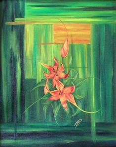 Buy Original Oil Painting Iris in Bloom in Green and Orange Abstract  Background Floral Garden by tdavispainthouse. Explore more products on http://tdavispainthouse.etsy.com
