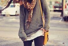 Leopard scarf off-the-shoulder sweater and leggings... - more → http://sharonfashionwebsites.blogspot.com/2013/10/leopard-scarf-off-shoulder-sweater-and.html