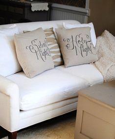 stencilled pillows