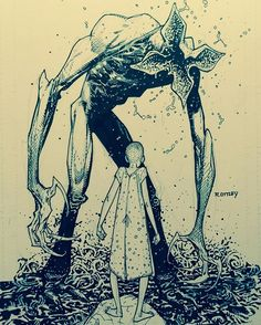 """""""At our local draw night I just had to draw some fan art from Stranger Things."""" (Eleven and the Demogorgon by Ryan Ottley) This makes me sad. Stranger And Stranger, Eleven Stranger Things, Stranger Things Fan Art, Stranger Things Monster, Tree Illustration, Illustrations, Stranger Things Have Happened, Photo Animaliere, Digital Paintings"""