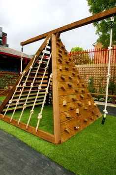 Jaw Dropping Playground Design :: Seriously! I'd love to have just this one climbing piece for Joy. She would be on it rain or shine! ***Diy for the pops!