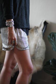 { silver shorts }