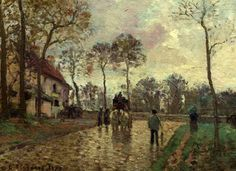 The Stage Coach at Louveciennes , 1870, by Camille Pissarro, French, 1830-1903. Despite eye problems, Pissarro's later years were the most prolific. Pissarro is considered the patriarch of the Impressionist movement and participated in eight independent shows. Some were with Monet, Renoir, Sisley, Edgar Degas and Berthe Morisot. However, Pissarro was the only artist to participate in all eight shows.  This work is found at the Musee d'Orsay in Paris.