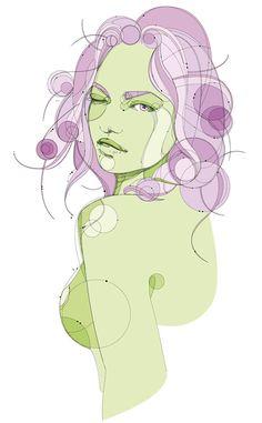"""There is a Light"" - Federica Bonfanti, Adobe Illustrator {contemporary figurative artist beautiful female head shoulder woman face portrait digital illustration #loveart}"