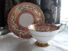 Pink Coffee Cups, Royal Stafford, Teacup, Pink And Gold, Pottery, Sweet, Ruby Lane, Ceramica, Candy