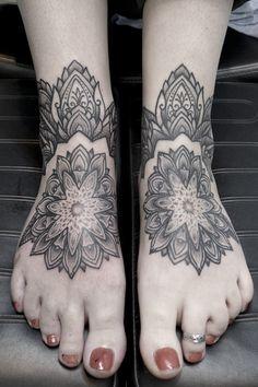 Love Jason Corbett's geometric tattoo style - footsie mandalas