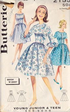 1960s Teen Dress with Full Skirt in 3 Versions
