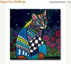 50% Off FREE Shipping WORLDWIDE Cat Gift by HeatherGallerArt