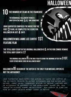 "Facts about the ""Halloween"" franchise Halloween Movies, Halloween Horror, Scary Movies, Great Movies, Halloween Themes, Halloween Trivia, Halloween Facts, Halloween Poster, Pixar Movies"