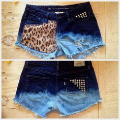 Cheetah print cut off high waisted denim vintage shorts DIY studded ombré bleached