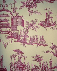 L'ile des Lanternes Wallpaper Pictoral toile wallpaper in cerise on cream, a lovely scenic wallpaper for either a feature wall or will may a whole room look fantastic.