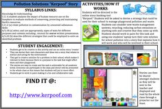 "Design a ""Kerpoof"" story! Use the online storybooking tool ""Kerpoof"" to get students to create a solution and story for how they can reduce waste and manage pollution in their school. Students can be creative and present their story to the whole class. Find it at: http://www.kerpoof.com"