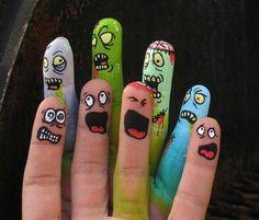 Zombies - Part 13 Finger Fun, Finger Heart, Finger Hands, Finger Plays, Hand Art, Finger Painting, Body Painting, Hand Kunst, Funny Fingers