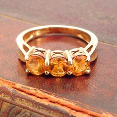 Citrine Ring, 9ct solid yellow gold, Size 7, Orange Citrine Ring, 3 stone, Promise Ring, Vintage Ring Birthstone Ring by celticfinds on Etsy