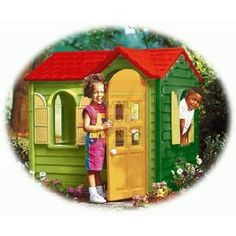 Little Tikes Country Cottage Evergreen Large play cottage with classic country styling Detailed interior features pretend sink with swivel taps hob with clicking knobs and push button play phone Full height door and 4 windows with shutters http://www.comparestoreprices.co.uk/childs-toys/little-tikes-country-cottage-evergreen.asp