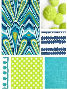 Color board created by Coconut Beech designer Melissa Wessells    Aqua, turquoise, chartreuse, navy, lime green, sea blue, trims, fabrics, bright colors, interior decor, Trina Turk, pom pom trim, stripes, polka dots, linen, etsy, upholstery