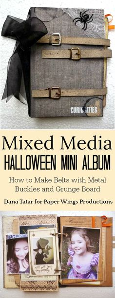 Mixed Media Halloween Mini Album by Dana Tatar. Dana combines vintage ephemera and clip art, 7Gypsies Wicked patterned papers, and Paper Wings Productions stamps for this spooky album. Dana also shares how to create belts for the album cover using Tim Holtz Metal Buckles and Grunge Board. #TheyCallMeTatarSalad #Halloween #MiniAlbum #MixedMediaAlbum #TimHoltz #PaperWingsProductions #GrungeBoard #7Gypsies