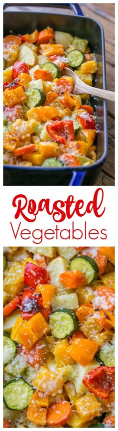 This Roasted Vegetables recipe uses the best of Fall veggies: butternut squash, potatoes, zucchini, carrots and bell peppers. A perfect holiday side dish! Roasted Vegetable Recipes, Roasted Vegetables, Veggie Recipes, Vegetarian Recipes, Healthy Recipes, Roasted Carrots, Fall Vegetables, Corn Recipes, Salad Recipes