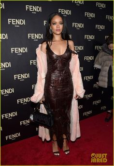 rihanna naomi campbell fendi flagship opening 01 Rihanna shows off her svelte body in a slinky brown dress at an event celebrating the opening of the New York flagship store for Fendi on Friday evening (February…