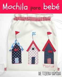 Mochila Baby Applique, Applique Patterns, Cross Stitch Baby, Childrens Gifts, Fabric Bags, Baby Decor, Bag Making, Baby Knitting, Sewing Projects
