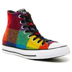 Converse Chuck Taylor High Top Sneaker (Unisex) ($50) ❤ liked on Polyvore featuring shoes, sneakers, lace up shoes, plaid sneakers, plaid shoes, converse shoes and high top platform sneakers