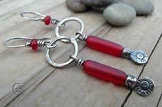 Rustic Red Earrings Small Hoops Handmade by ArtandSoulJewelry