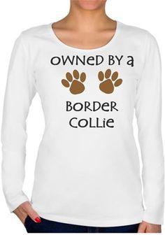 Köpekli - Owned By a Border Collie Kendin Tasarla - Bayan U Yaka Tişört - Uzun Kollu