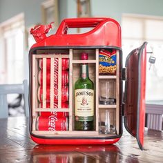 Alcohol Gifts For Men, Jerry Can Mini Bar, Portable Bar, Alcohol Bottles, Bar Gifts, Man Cave Gifts, Man Cave Bar, Best Gifts For Men, Fire Extinguisher
