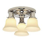 Edison Solid Brass Flush Pan-Light Fixture With Opal Glass Shades (item #RS-03HV-587-341X)
