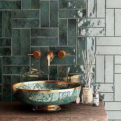 Green Bathroom Tiles, Moroccan Tile Bathroom, Green Tile Backsplash, Green Mosaic Tiles, Green Bathrooms, Ceramic Mosaic Tile, Moroccan Tiles, Japanese Style Bathroom, Bathroom Feature Wall