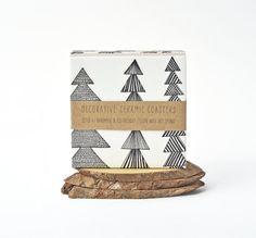 Ceramic Coasters Marimekko Pattern Christmas Winter by Tilissimo